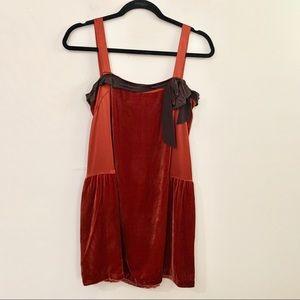 dkny Dresses - DKNY Burnt Orange Silk and Velvet Mini Tunic Dress